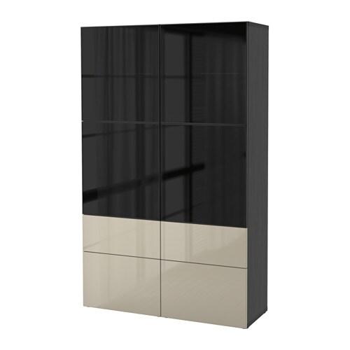 Ikea Dombas Wardrobe Closet ~   glasdörr  svartbrun Selsviken, lådskena, tryck och öppna  IKEA