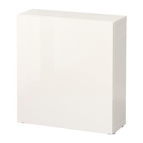 BESTå Hylla med dörr vit Selsviken högglans vit IKEA