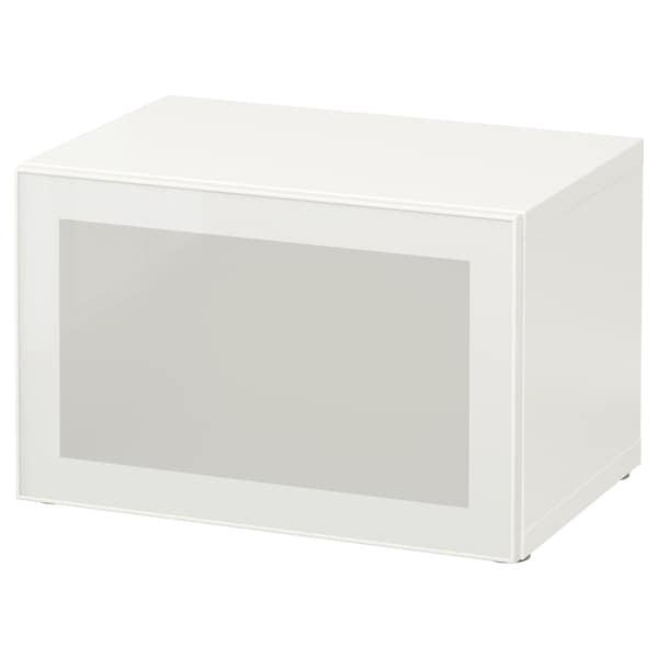 BESTÅ Hylla med glasdörr, vit/Glassvik vit/frostat glas, 60x42x38 cm
