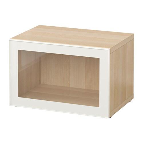 Bestå Hylla Med Glasdörr Vitlaserad Ekmönstrad Glassvik Vit Klarglas Ikea