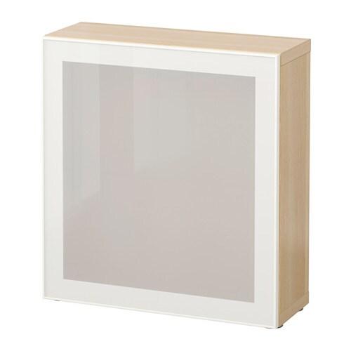 BESTå Hylla med glasdörr vitlaserad ekmönstrad Glassvik vit frostat glas IKEA