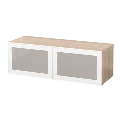 BESTå Hylla med glasdörrar vitlaserad ekmönstrad Glassvik vit frostat glas IKEA