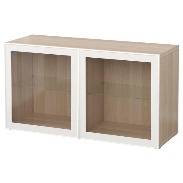 BESTÅ hylla med glasdörrar vitlaserad ekmönstrad/Glassvik vit/klarglas 120 cm 40 cm 64 cm
