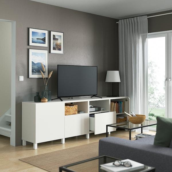 BESTÅ Tv-bänk med dörrar och lådor, vit/Lappviken/Stubbarp vit, 240x42x74 cm