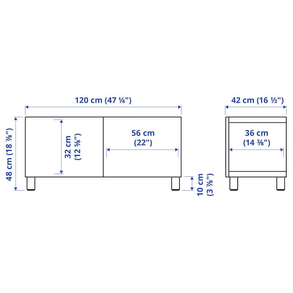 BESTÅ Tv-bänk med dörrar, svartbrun Hedeviken/Stubbarp/mörkbrun betsad ekfaner, 120x42x48 cm