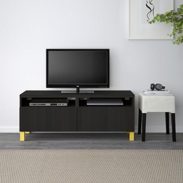 BESTÅ Tv-bänk med lådor, svartbrun/Lappviken/Stubbarp gul, 120x42x48 cm