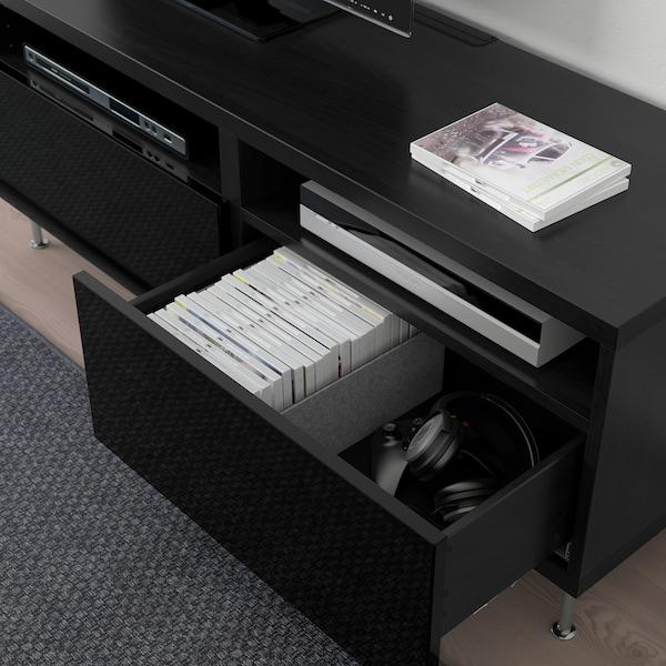 BESTÅ Tv-bänk med lådor, svartbrun/Selsviken/Stallarp högglans/svart, 120x42x48 cm