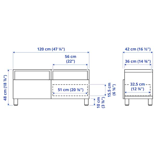 BESTÅ Tv-bänk med lådor, vit/Hanviken/Stubbarp beige, 120x42x48 cm