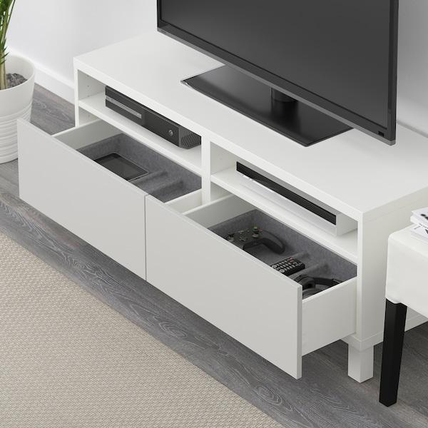 BESTÅ Tv-bänk med lådor, vit/Lappviken/Stubbarp ljusgrå, 120x42x48 cm