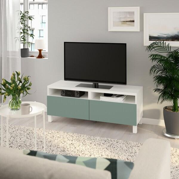 BESTÅ Tv-bänk med lådor, vit/Notviken/Stubbarp grågrön, 120x42x48 cm