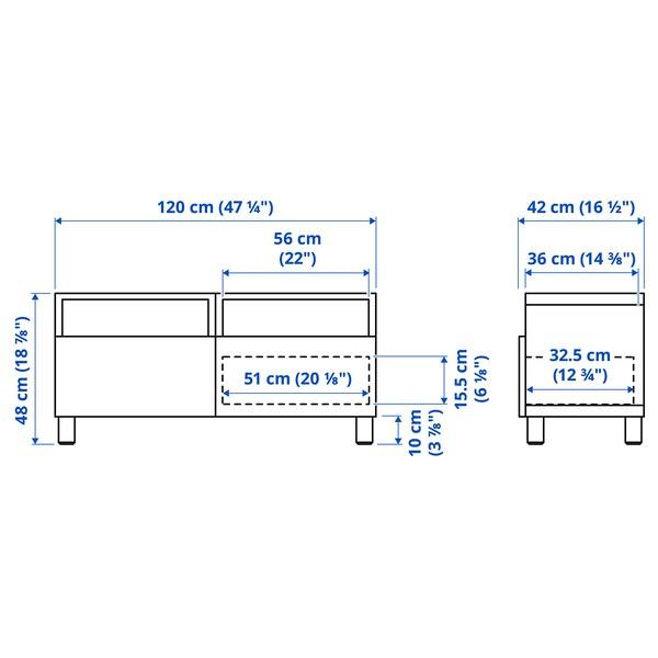 BESTÅ Tv-bänk med lådor, vit/Selsviken högglans/vit, 120x42x48 cm