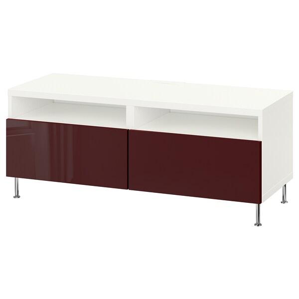 BESTÅ Tv-bänk med lådor, vit Selsviken/Stallarp/högglans mörk rödbrun, 120x42x48 cm