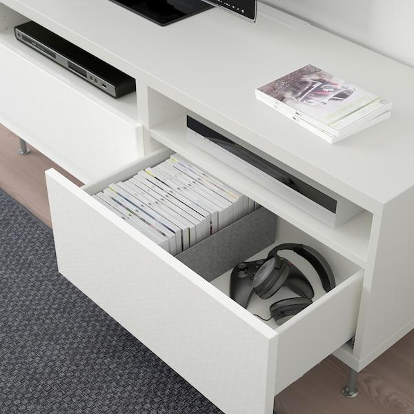 BESTÅ Tv-bänk med lådor, vit/Selsviken/Stallarp högglans/vit, 120x42x48 cm