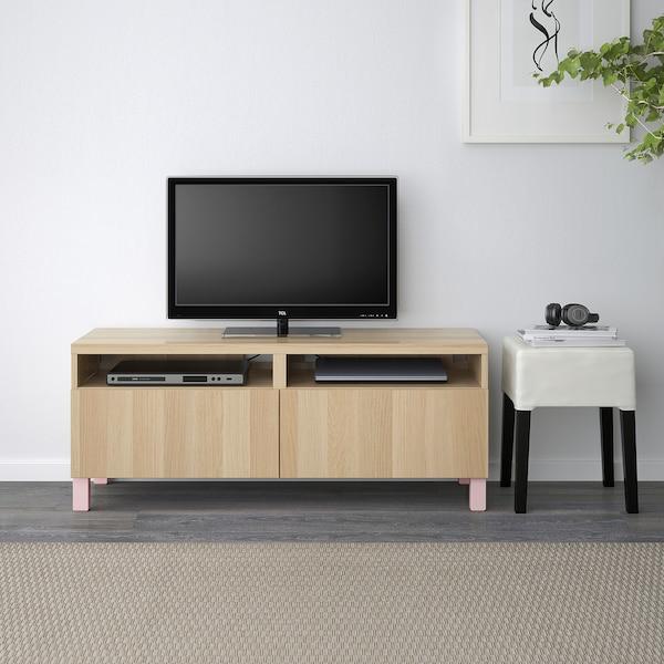 BESTÅ Tv-bänk med lådor, vitlaserad ekeffekt/Lappviken/Stubbarp rosa, 120x42x48 cm