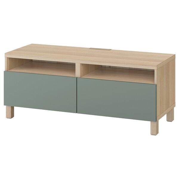 BESTÅ Tv-bänk med lådor, vitlaserad ekeffekt/Notviken/Stubbarp grågrön, 120x42x48 cm