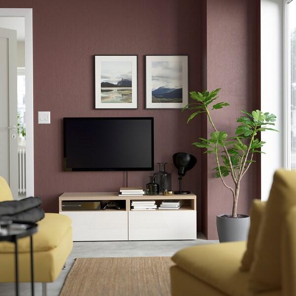 BESTÅ Tv-bänk med lådor, vitlaserad ekeffekt/Selsviken högglans/vit, 120x42x39 cm