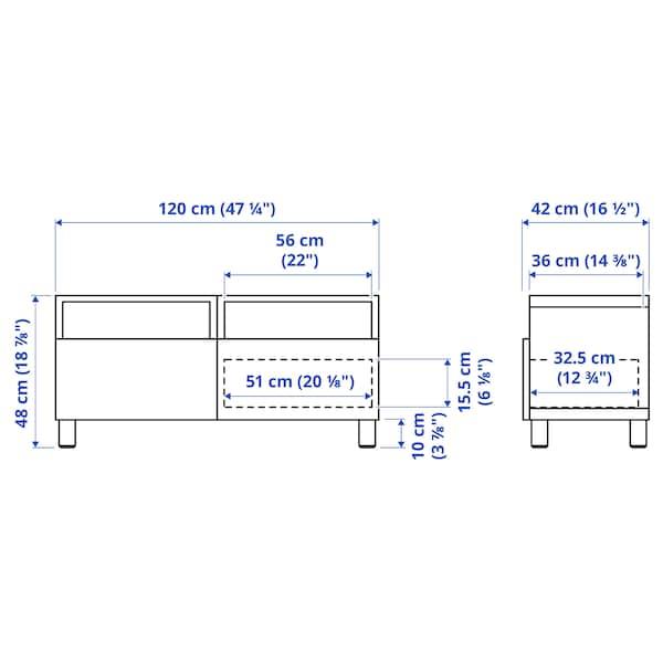 BESTÅ Tv-bänk med lådor, vitlaserad ekmönstrad/Selsviken högglans/vit, 120x42x48 cm