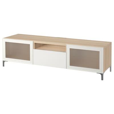 BESTÅ Tv-bänk, vitlaserad ekeffekt/Selsviken/Nannarp högglans/vit frostat glas, 180x42x48 cm