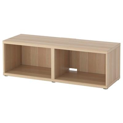 BESTÅ Tv-bänk, vitlaserad ekeffekt, 120x40x38 cm
