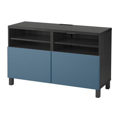Bestå Tv Bänk Med Dörrar Svartbrunvalviken Mörkblå Ikea