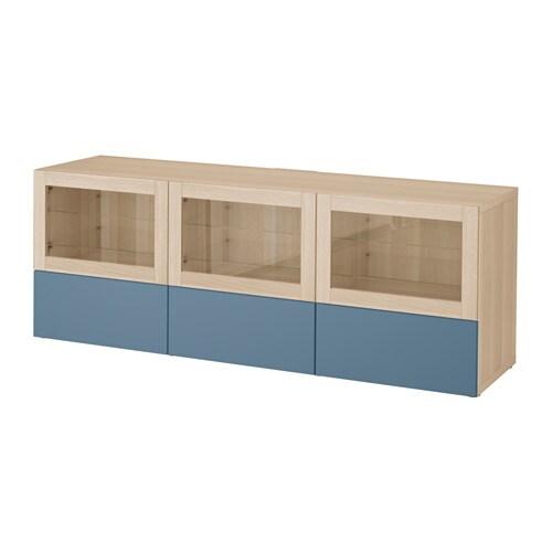 BESTå Tv bänk med dörrar och lådor vitlaserad ekeffekt Valviken mörkblå klarglas, lådskena