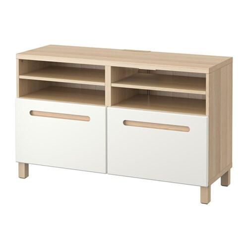 BESTå Tv bänk med dörrar vitlaserad ekmönstrad Marviken vit IKEA