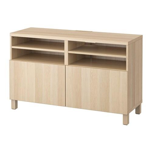 Bestå Tv Bänk Med Dörrar Lappviken Vitlaserad Ekmönstrad Ikea
