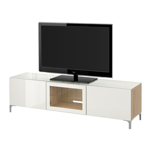 best tv b nk med d rrar vitlaserad ekeffekt selsviken. Black Bedroom Furniture Sets. Home Design Ideas