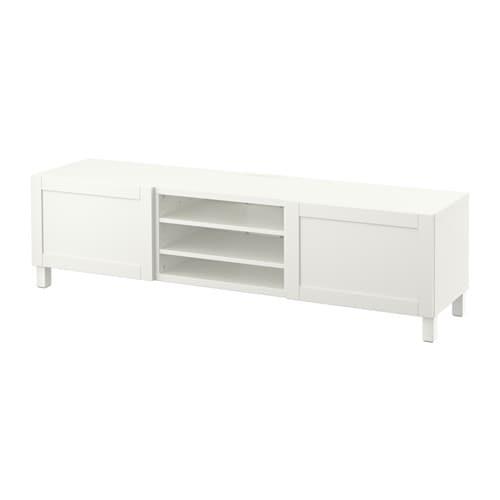 Ikea Dombas Wardrobe Closet ~   Tv bänk med lådor  Hanviken vit, lådskena, tryck och öppna  IKEA