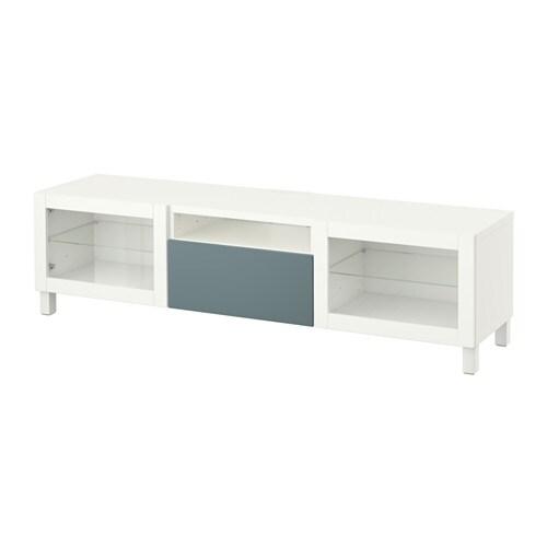 BESTå Tv bänk vit Valviken gråturkos klarglas, lådskena, tryck ochöppna IKEA