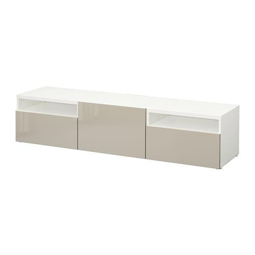 best tv b nk vit selsviken h gglans beige l dskena tryck och ppna ikea. Black Bedroom Furniture Sets. Home Design Ideas
