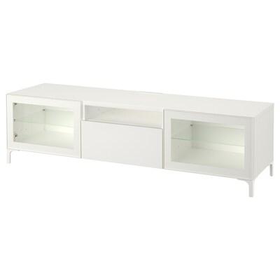 BESTÅ tv-bänk vit/Selsviken/Nannarp högglans/vit klarglas 180 cm 42 cm 48 cm 50 kg