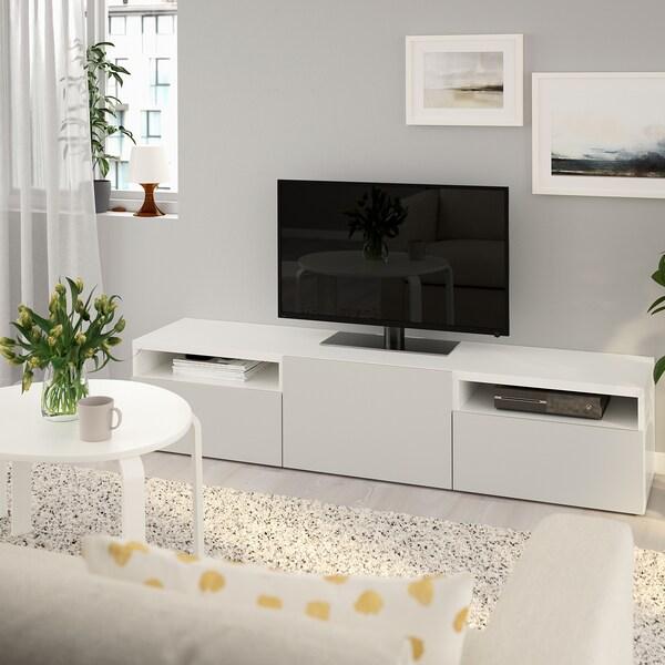BESTÅ Tv bänk, vit, Lappviken ljusgrå, 180x39 cm IKEA