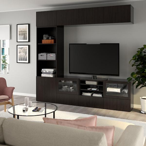 BESTÅ Tv-förvaring kombination/glasdörrar, Lappviken/Sindvik svartbrun klarglas, 240x40x230 cm