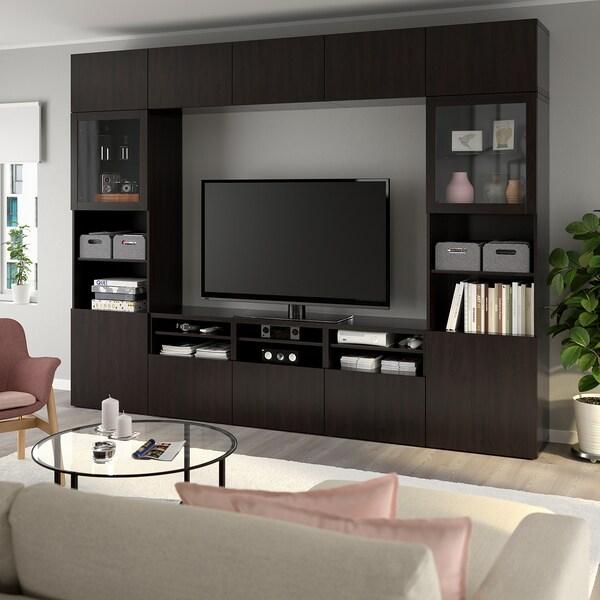 BESTÅ Tv-förvaring kombination/glasdörrar, Lappviken/Sindvik svartbrun klarglas, 300x40x230 cm