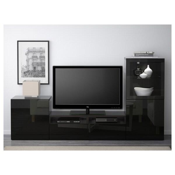 BESTÅ Tv-förvaring kombination/glasdörrar, svartbrun/Selsviken högglans/svart klarglas, 240x40x128 cm