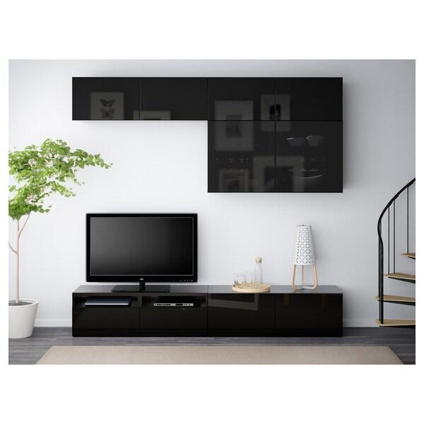 BESTÅ Tv-förvaring kombination/glasdörrar, svartbrun/Selsviken högglans/svart rökfärgat glas, 240x40x230 cm