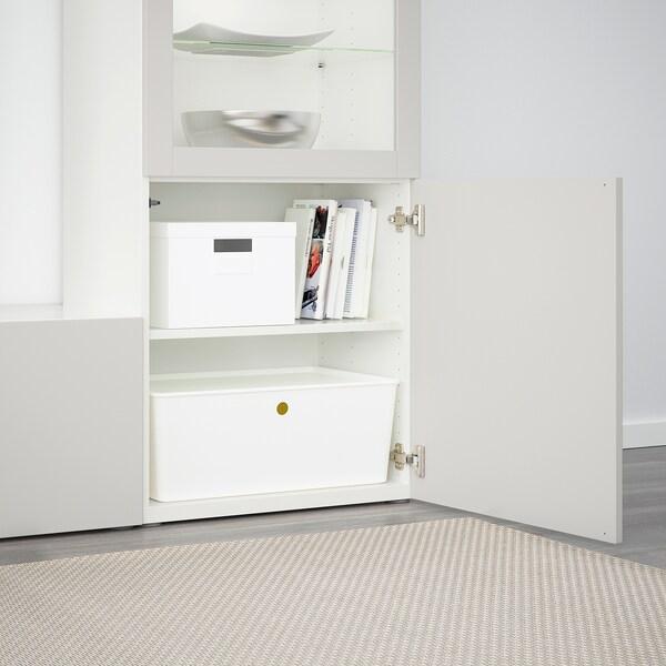 BESTÅ Tv-förvaring kombination/glasdörrar, vit/Lappviken ljusgrå klarglas, 240x42x129 cm