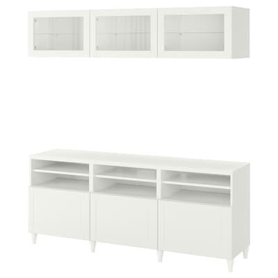 BESTÅ Tv-förvaring kombination/glasdörrar, vit Smeviken/Ostvik vit klarglas, 180x42x192 cm