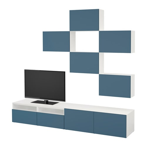 best tv m bel kombination vit valviken m rkbl l dskena tryck och ppna ikea. Black Bedroom Furniture Sets. Home Design Ideas