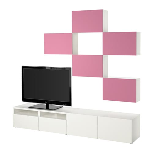 best tv m bel kombination lappviken rosa vit l dskena tryck och ppna ikea. Black Bedroom Furniture Sets. Home Design Ideas
