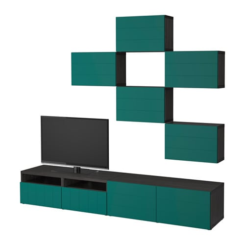best tv m bel kombination svartbrun hallstavik bl gr n l dskena tryck och ppna ikea. Black Bedroom Furniture Sets. Home Design Ideas
