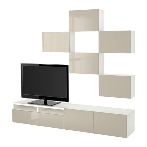 best tv m bel kombination vit selsviken h gglans beige l dskena mjukst ngande ikea. Black Bedroom Furniture Sets. Home Design Ideas