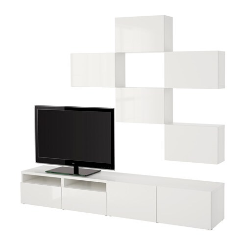 best tv m bel kombination vit selsviken h gglans vit l dskena tryck och ppna ikea. Black Bedroom Furniture Sets. Home Design Ideas