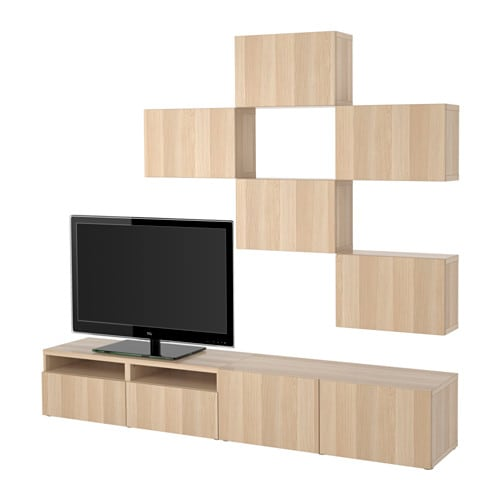 best tv m bel kombination lappviken vitlaserad. Black Bedroom Furniture Sets. Home Design Ideas