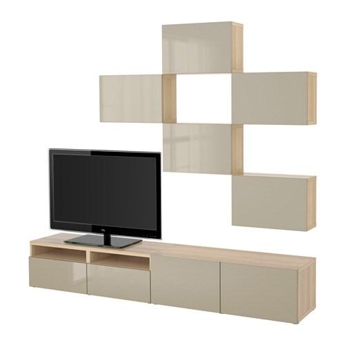 best tv m bel kombination vitlaserad ekm nstrad selsviken h gglans beige l dskena tryck. Black Bedroom Furniture Sets. Home Design Ideas