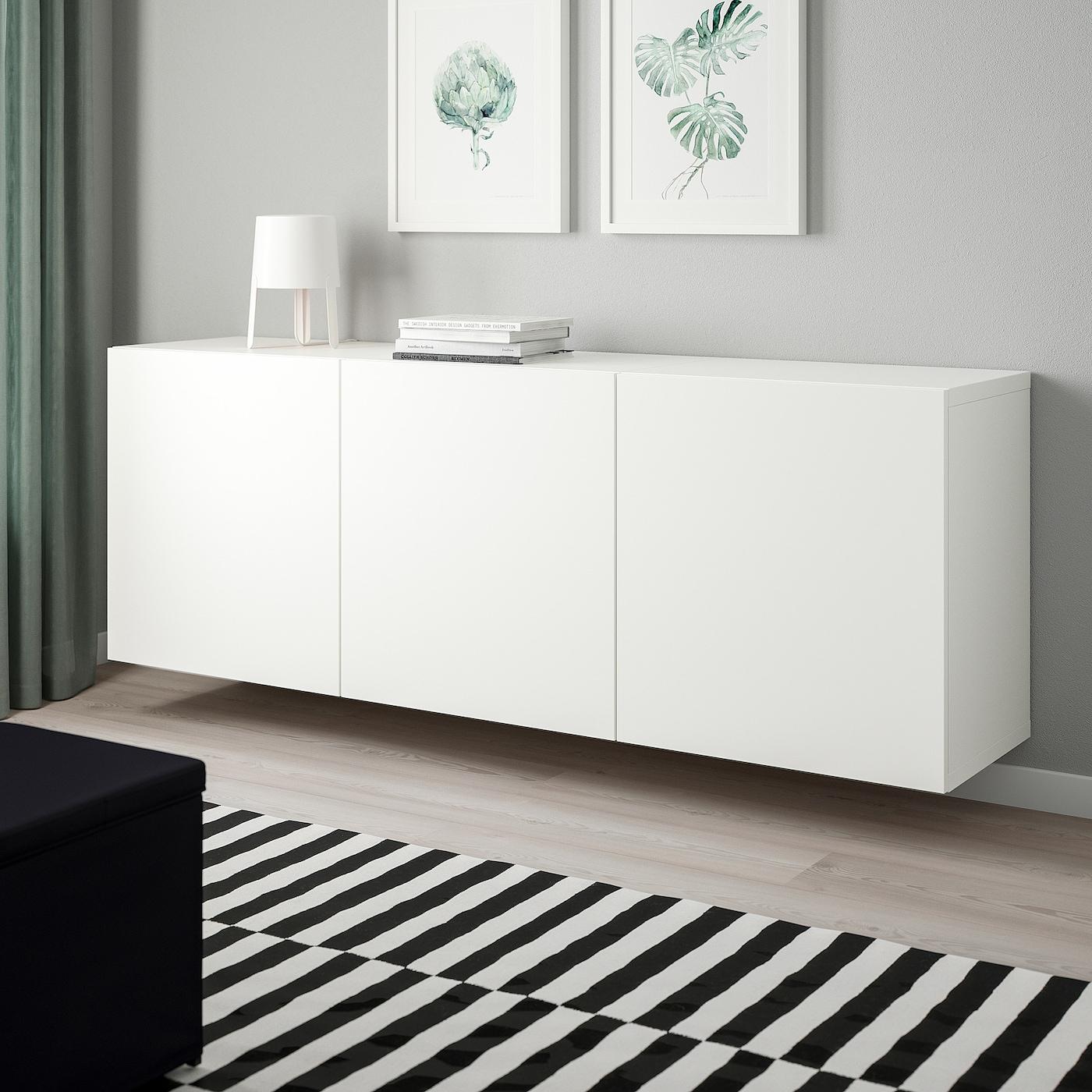 BESTÅ Väggmonterad skåpkombination - vit/Lappviken vit 180x42x64 cm