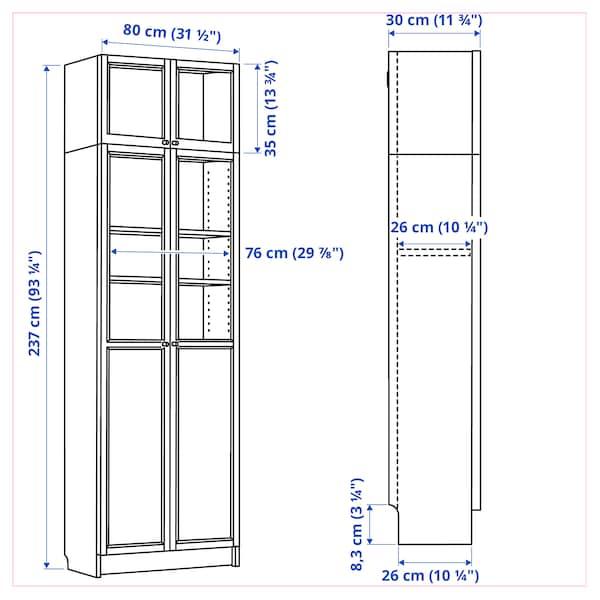 BILLY Bokhylla m överhylla/panel-/vdörrar, vit, 80x30x237 cm