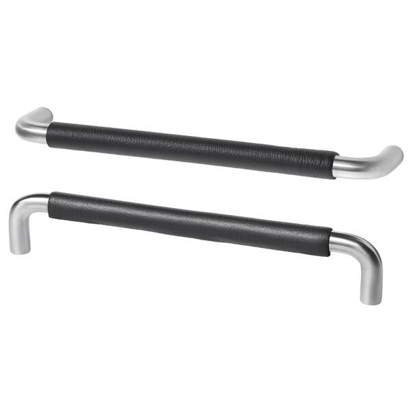 BJÄRRED handtag rostfritt stål/svart läder 175 mm 5 mm 160 mm 34 mm 2 styck