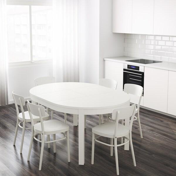 BJURSTA Utdragbart bord, vit, 115/166 cm